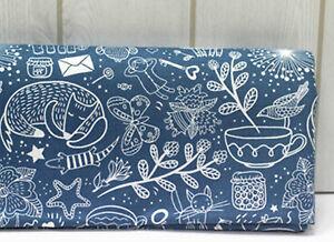 Animal-Tea-Time-100-Coton-Tissu-Oxford-Fox-tasse-papillon-bleu-JO-07