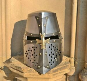 Medieval Crusader Flat Top Full Size Helmet Halloween LARP SCA Reenactment Wear