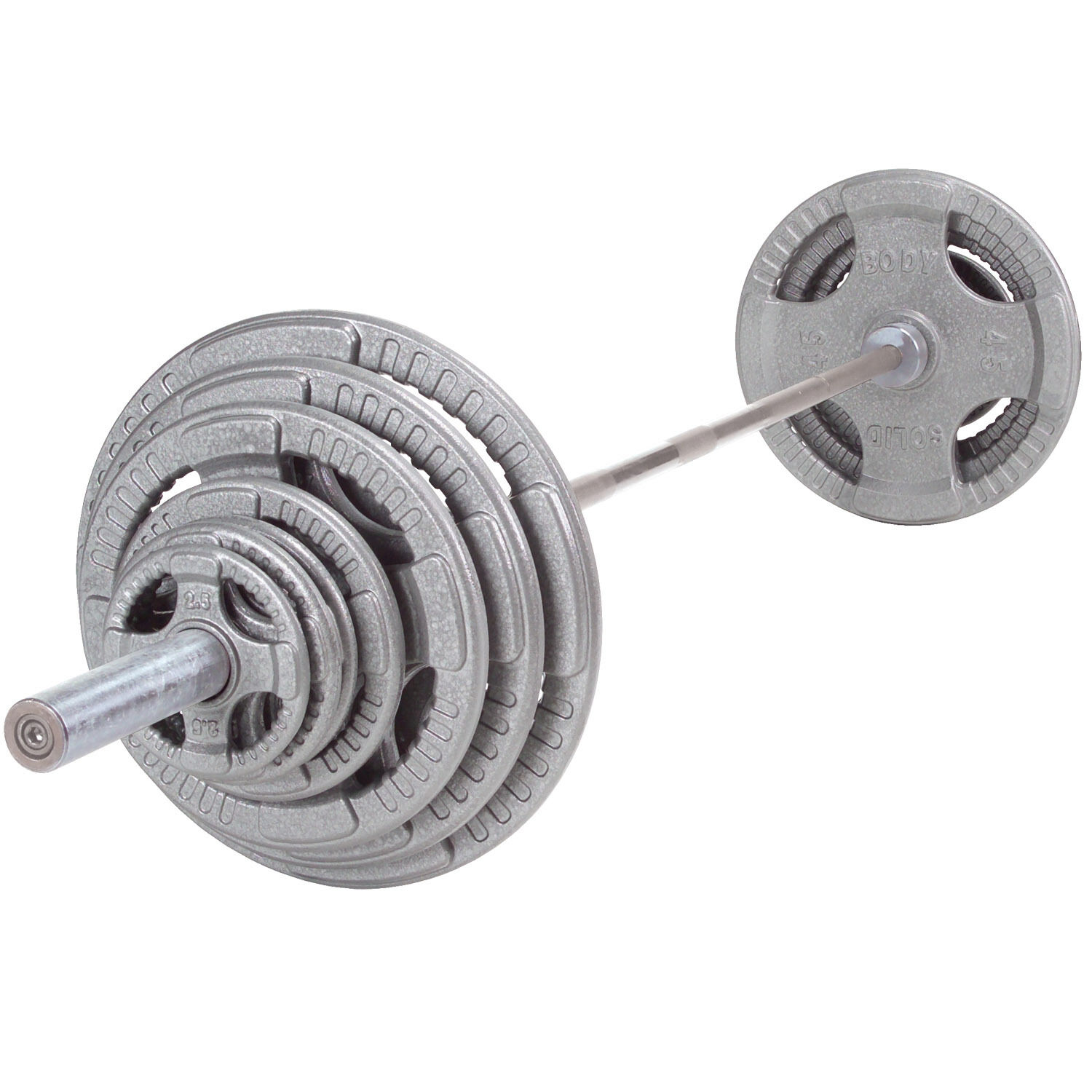 300 lb Steel Grip Weight  Set with Bar and Collars - Body-Solid Fitness OST300S  top brands sell cheap
