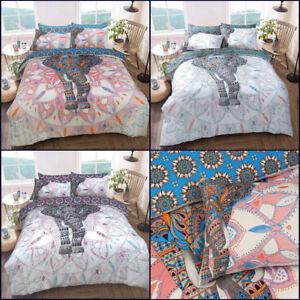 Elephant-Mandala-Duvet-Cover-Set-King-Size-Double-Single-Bedding-Reversible-New