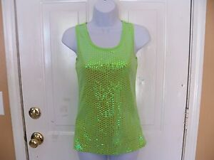 Balera-Bright-Green-Sequence-Tank-Top-Size-S-Womens-EUC