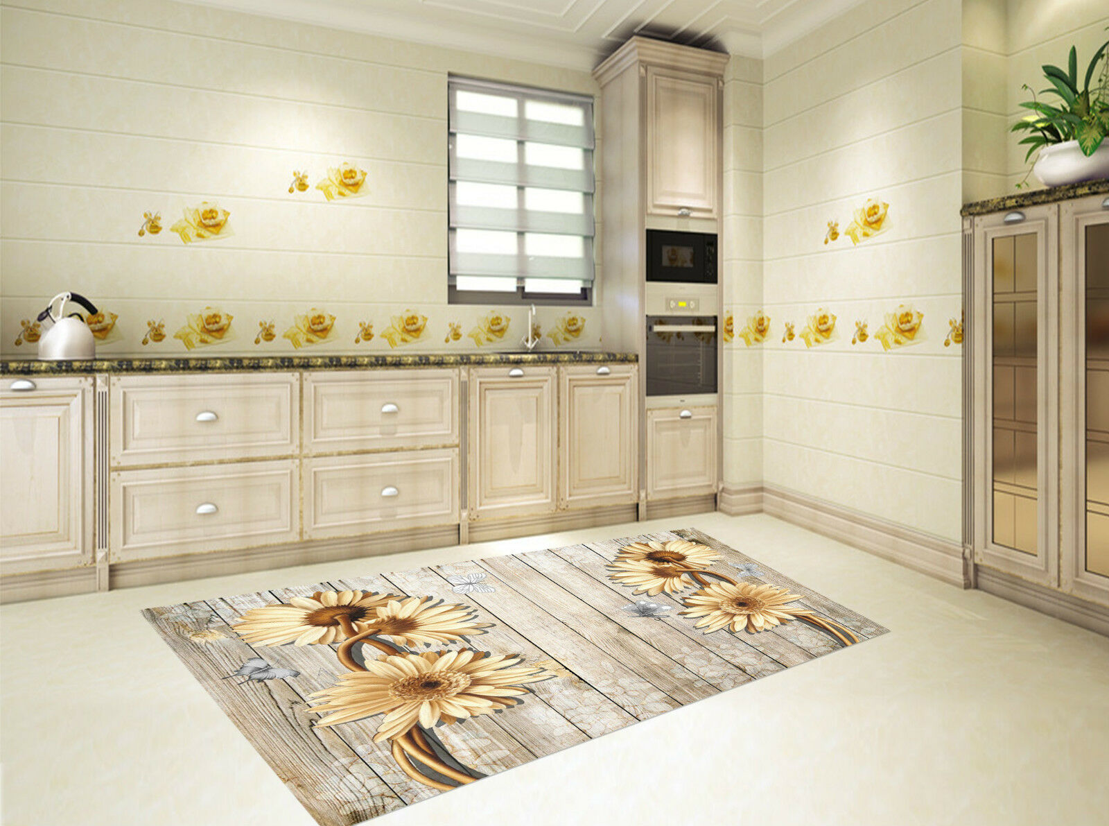3D Boards Flowers Kitchen Mat Floor Murals Wall Print Wall Deco AJ WALLPAPER CA