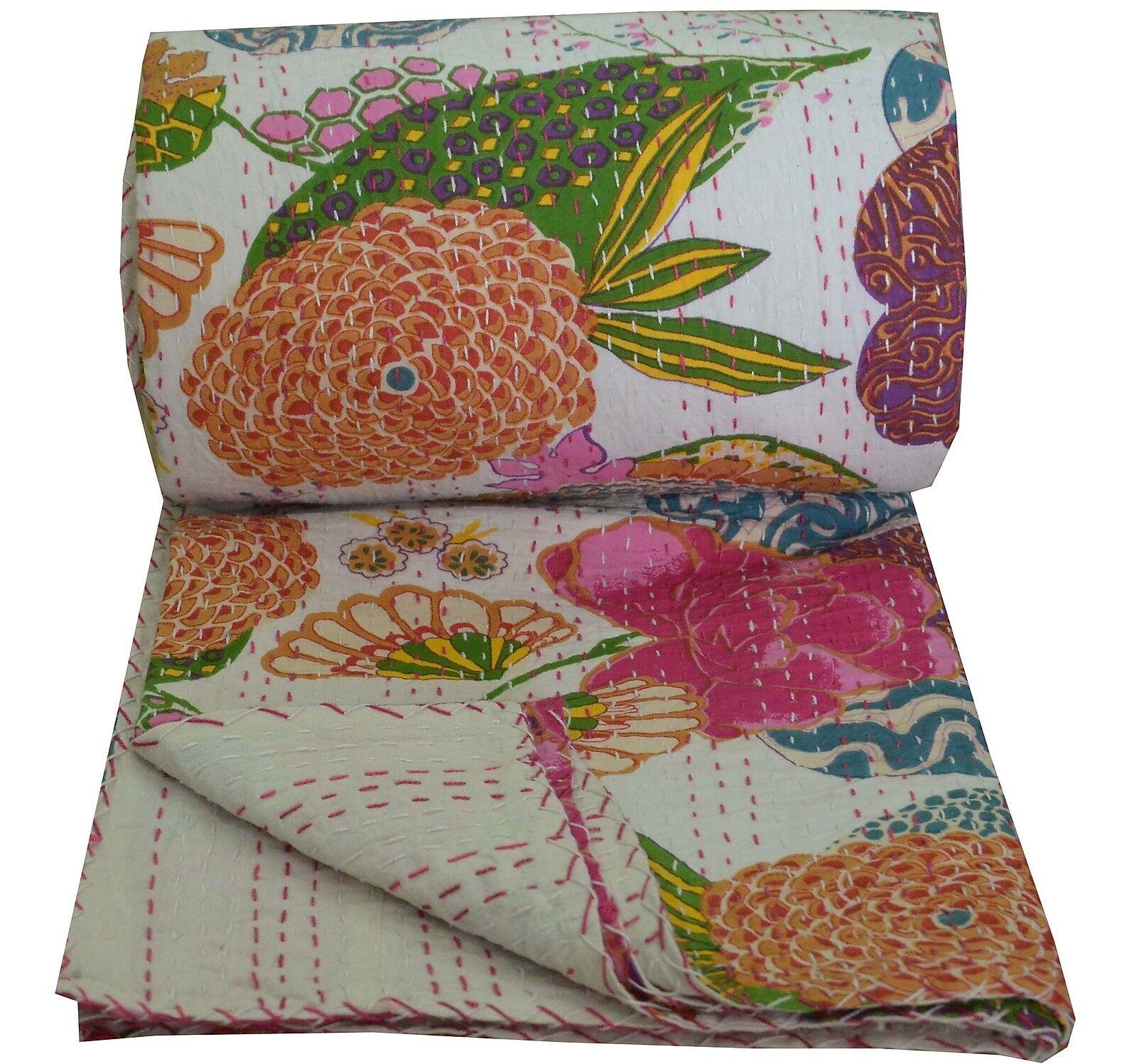 Floral King Größe Kantha Quilt Indian Throw Reversible Bedspread Blanket Ralli