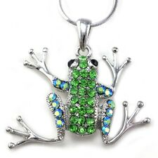 Frog Toad Green Stone Crystal Animal Costume Design Necklace Snake Chain Pendant