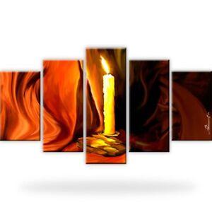 Kerze-Tuch-Leinwandbilder-Kunstdruck-Fuenfteilige-Dekoration-Bilder