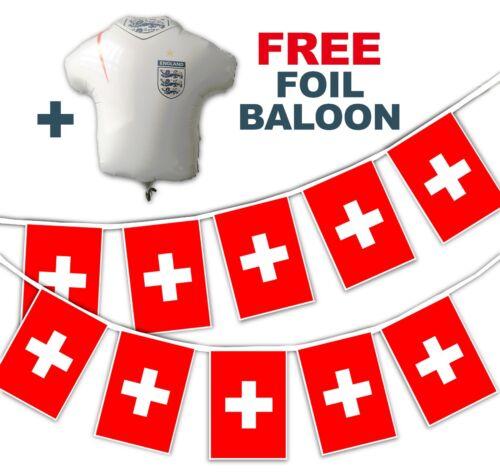 Gratuit Foil Balloon Coupe du monde de football 2018 Set-Suisse drapeaux-Bunting