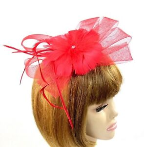 6b2544103a865 Image is loading Red-Bow-Feather-Fascinator-Comb-Flower-Rhinestone-Marabou-