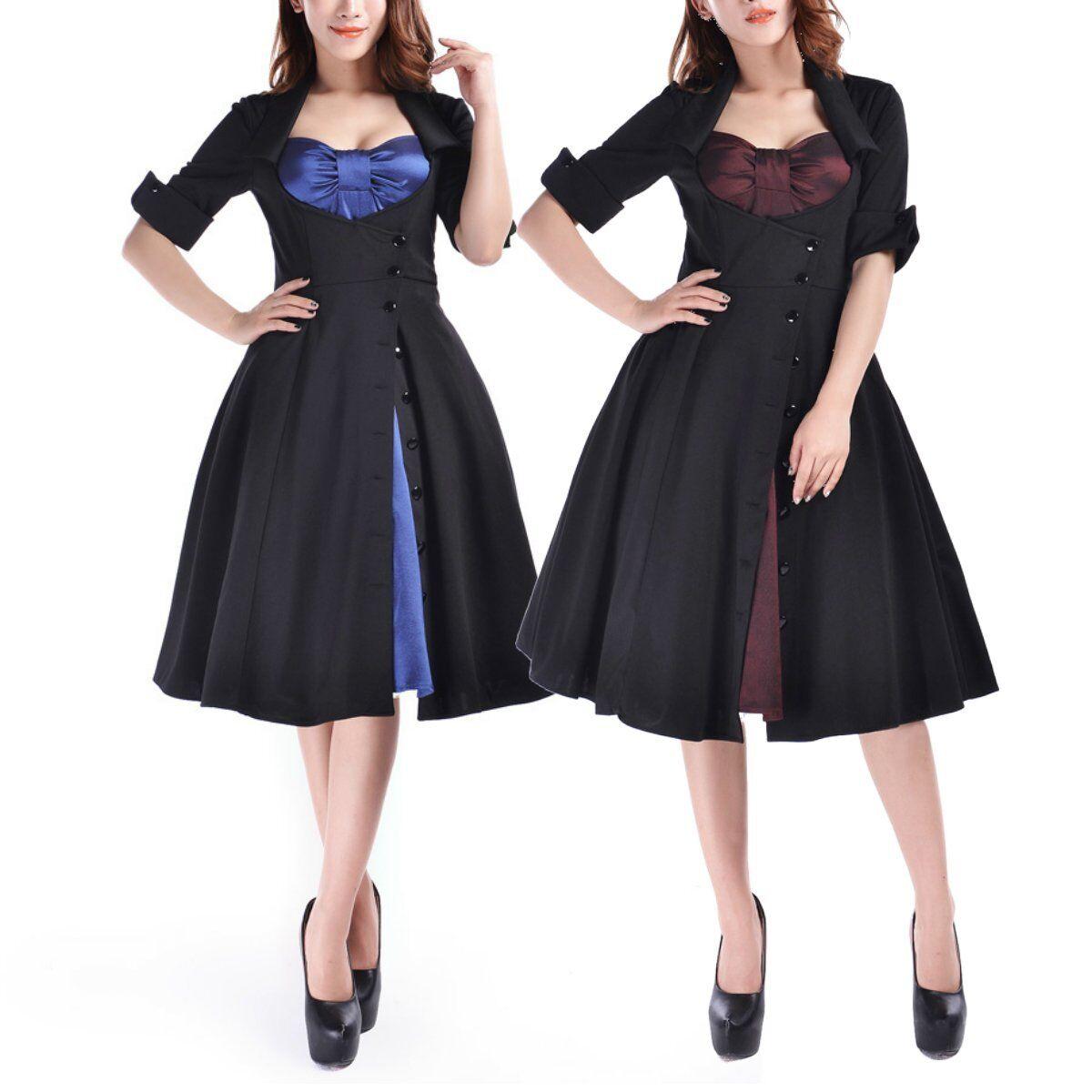CSTD 51111 Damen Kleid Rockabilly 50er 60er Vintage Dress Burgund   Blau 36-58