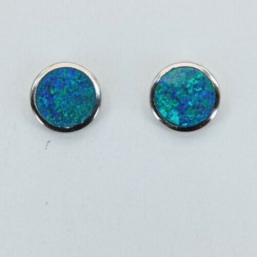 Inlay FIRE OPAL 10mm Blue Round Stud Post Earrings 925 STERLING SILVER #38