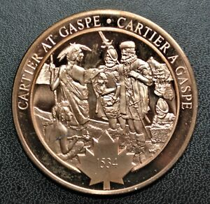 1534 Cartier at Gaspe: 1970 History of Canada Proof Bronze Medal