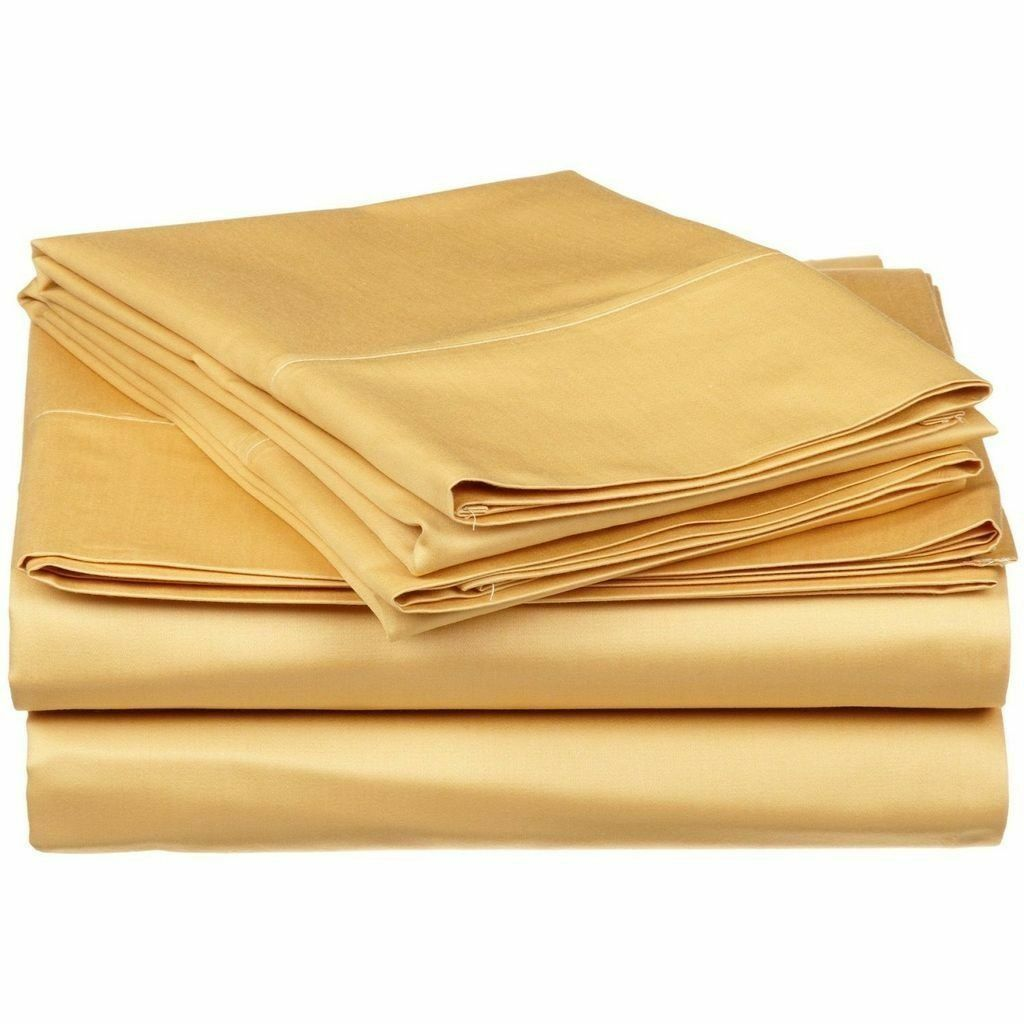 Elastic All Around Fits Fitted Sheet Gold Solid Choose Deep Pkt & Größes 1000 TC