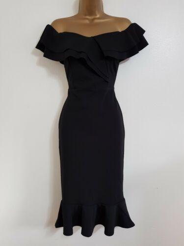 Nouveau Debenhams 6-16 Noir Bardot Volants Ourlet Midi Moulante Robe de Mariage Occasion
