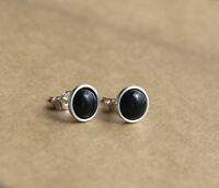 925 Sterling silver stud earrings with natural  Black Onyx gemstones