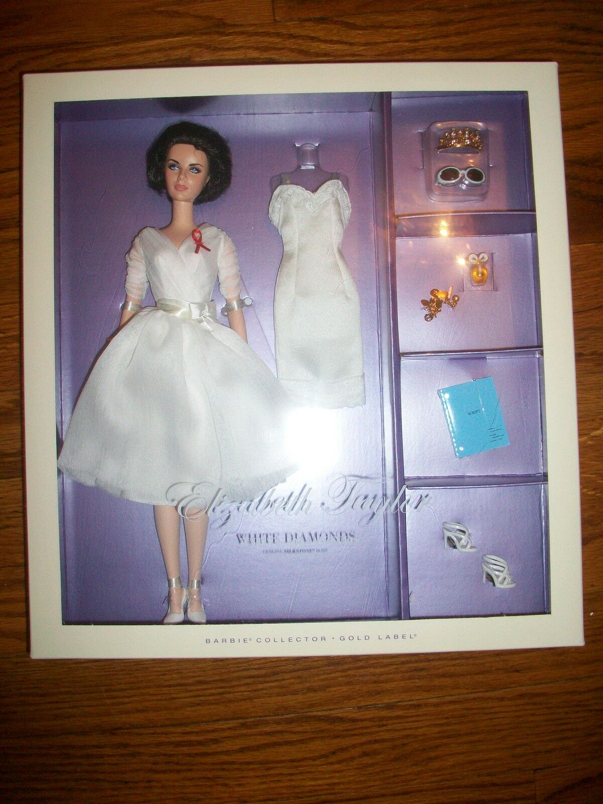 Elizabeth Taylor blanco Diamond Barbie Silkstone oro Label