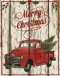 Image Is Loading Primitive Old Red Truck Merry Christmas Chippy Shiplap