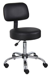 Image Is Loading BLACK ERGONOMIC MEDICAL DOCTOR OFFICE STOOL WITH CHROME