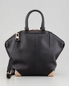 Alexander Wang 'Emile' Black Leather Tote Bag Purse w/ Rose Gold ...