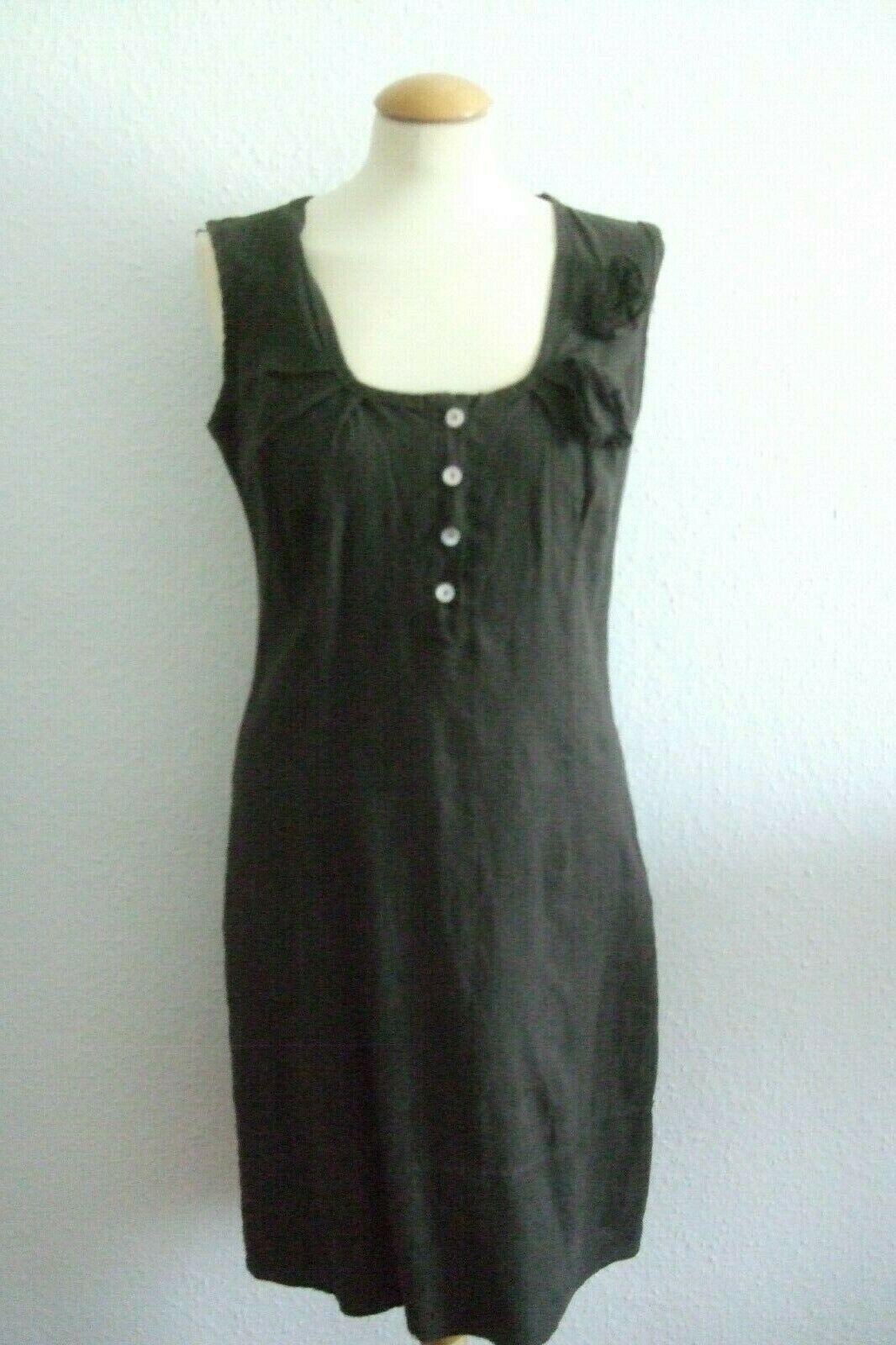 Les Freres Damen Kleid Sommerkleid Leinenkleid Leinen braun (3) L 42 44 Neu