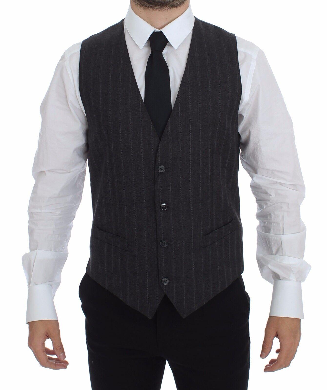 NWT DOLCE & GABBANA grau Striped Wool Logo Vest Gilet Weste IT48 / US38/ M