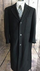5abcff572ce CHAPS RALPH LAUREN Vtg Black 100% Cashmere Long Dress Top Coat - 40R ...