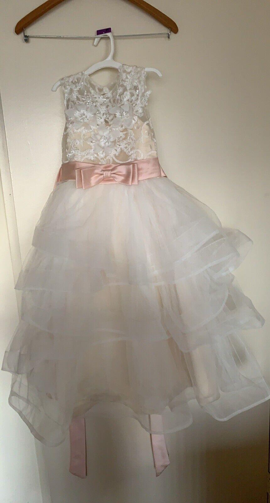 Bridal Flower Girl Dress Girl's White, Size 6