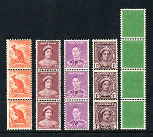 Australia - SG# 179,181,185,203 + test/Coil Strips/ wmk crown CofA - Lot 1220274