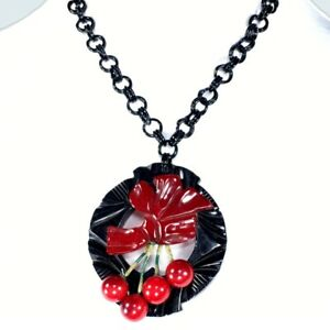 Ooak-Cherry-Amber-amp-Black-Bakelite-Pendant-Necklace-on-Celluloid-Chain