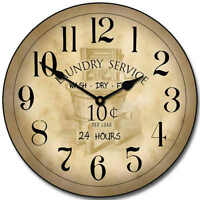 Large Wall Vintage Laundry Room Clock 10- 48 Whisper Quiet, Non-ticking