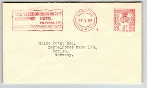 Great-Britain-1954-Hotel-Metered-Cover-to-Germany-Z13114