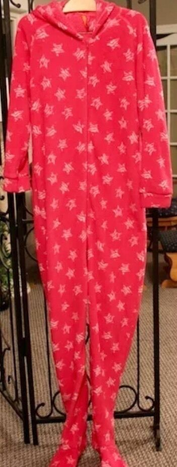 58 Jenni By Jennifer Moore Pink Stars Hooded Footed Pajamas 1 PC NEW L LASTONE