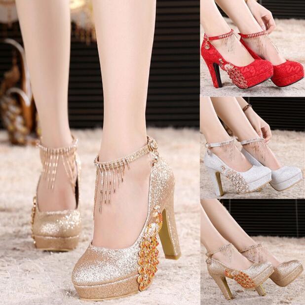 Womens Wedding Pumps Chunky High High Chunky Heels Bridesmaid Rhinestone Mary Janes Shoes T2 f898f4