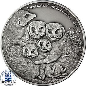 Offen Afrika Serie: Kongo 2000 Francs 2013 Antique Finish Erdmännchen 3 Silver Ounces