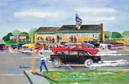 Art Johnsons Art Print Diner Hot Rod Street Racing GTO Route 1 Norwood MA Gift