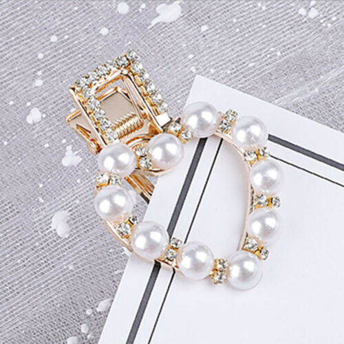 Women Girls Diamante Crystal Pearl Bead Flower Barrette Hair Clip Clamp Hairpin