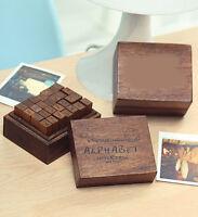 28pcs Rubber Stamps Set Vintage Wooden Box Case Alphabet Letters Number Craft
