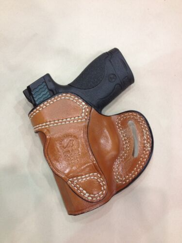 Premium Leather Belt Holster M/&P SHIELD 9mm// 40 # 7026 BRN GLOCK 26//27