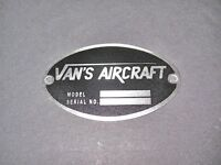 Vans Aircraft Dea Required aircraft Identification Data Plate Etched Stainless