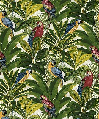 Grandeco Tapete - Tropenwald Papageien-vögel / Leafs - Exotisch Rot - A11502