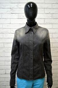 Camicia-in-Jeans-Grigio-Donna-GAS-Taglia-L-Maglia-Polo-Shirt-Woman-Manica-Lunga