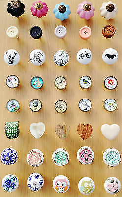 NEW SELECTION WOOD GLASS CERAMIC FLOWER ROUND DRAWER KNOBS DOOR KNOBS HANDLES