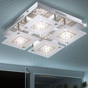 LED 18W Design Decken Leuchte Lampe Chrom Glas Kristalle Wohn Ess Schlaf Zimmer