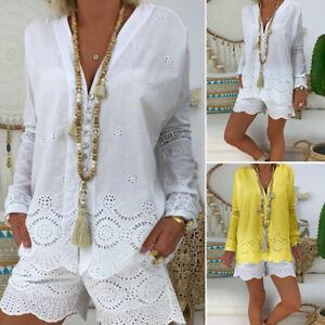 Mode-Femme-Haut-Shirt-100-coton-Col-V-Manche-Longue-Dentelle-Asymetrique-Plus