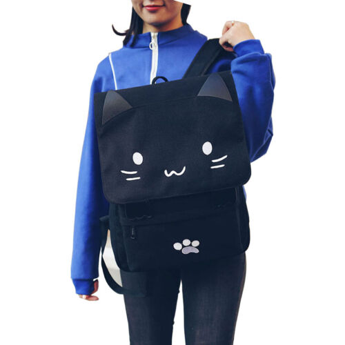 Details about  /Canvas Backpack Cat Design Cartoon Embroidery Backpacks Teenage Girls School Bag