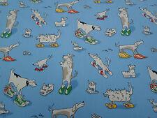 Sanderson Curtain Fabric 'Dogs in Cloggs' 2 METRES Blue - Abracazoo Fabrics