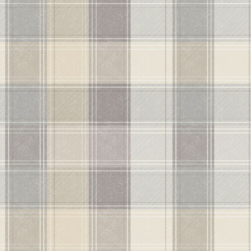 ARTHOUSE COUNTRY CHECKED BEIGE /& GREY QUALITY TARTAN WALLPAPER 901902