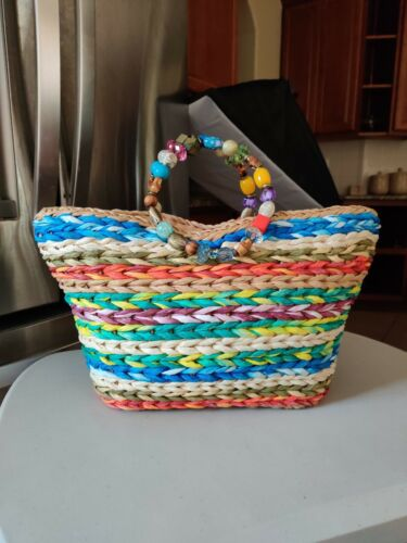 Colorful Vintage Raffia Tote With Beaded Handle