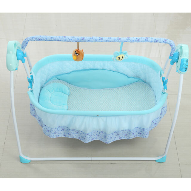 Auto Swing Rocking Cot Sleeping Bed Electric Baby Crib Cradle+Timer Music great