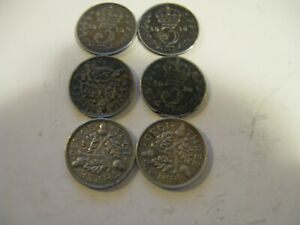 colllectible-6-x-Three-Pence-Silver-Coins-UK