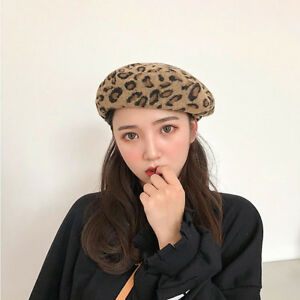fea50ae31ee2c Women Artist Retro Cotton Fashion French Leopard Print Beret Painter ...