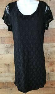 Star-Vixen-Dress-Black-Nylon-Lace-Layered-Knee-Length-Short-Sleeve-Size-L